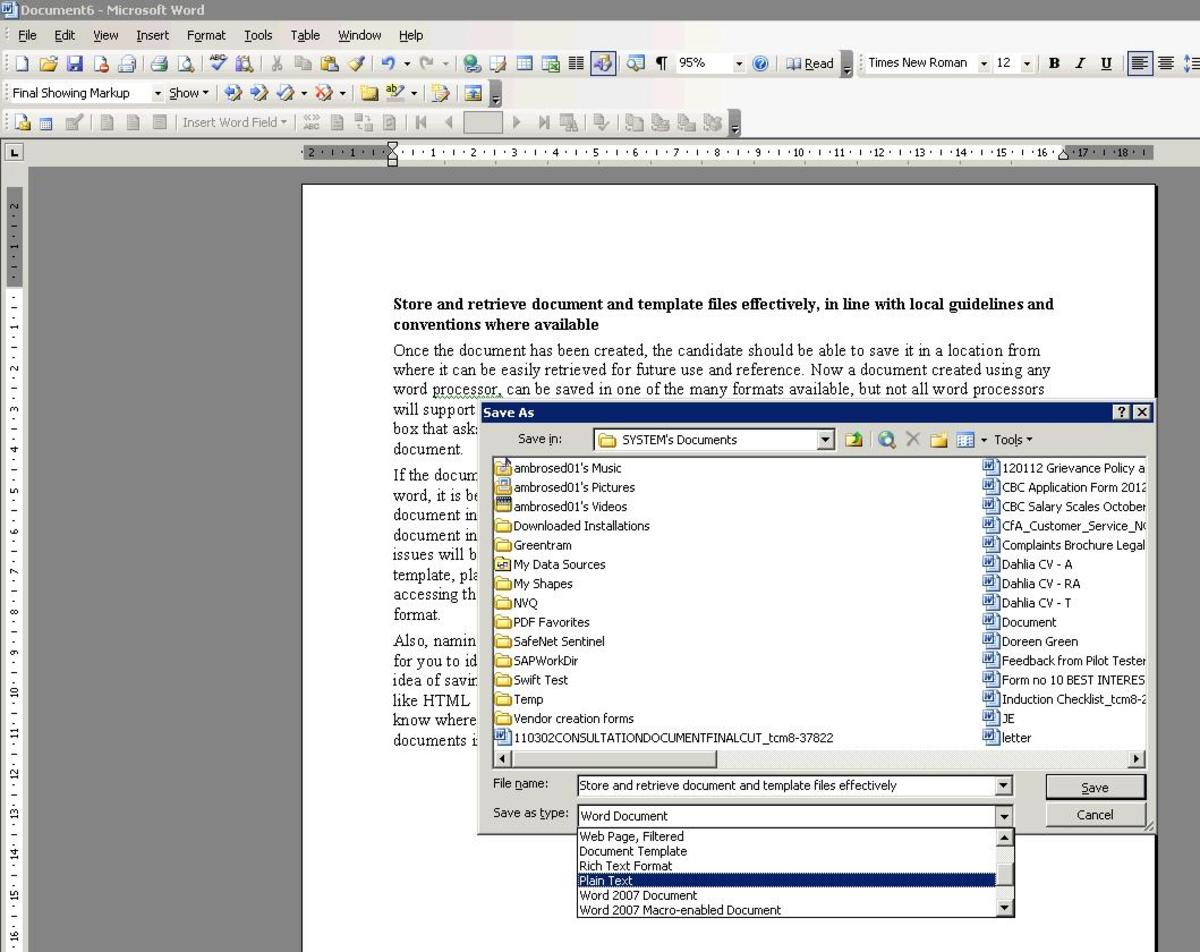 In the dialog box that opens, choose a location and an appropriate and simple format to save the document