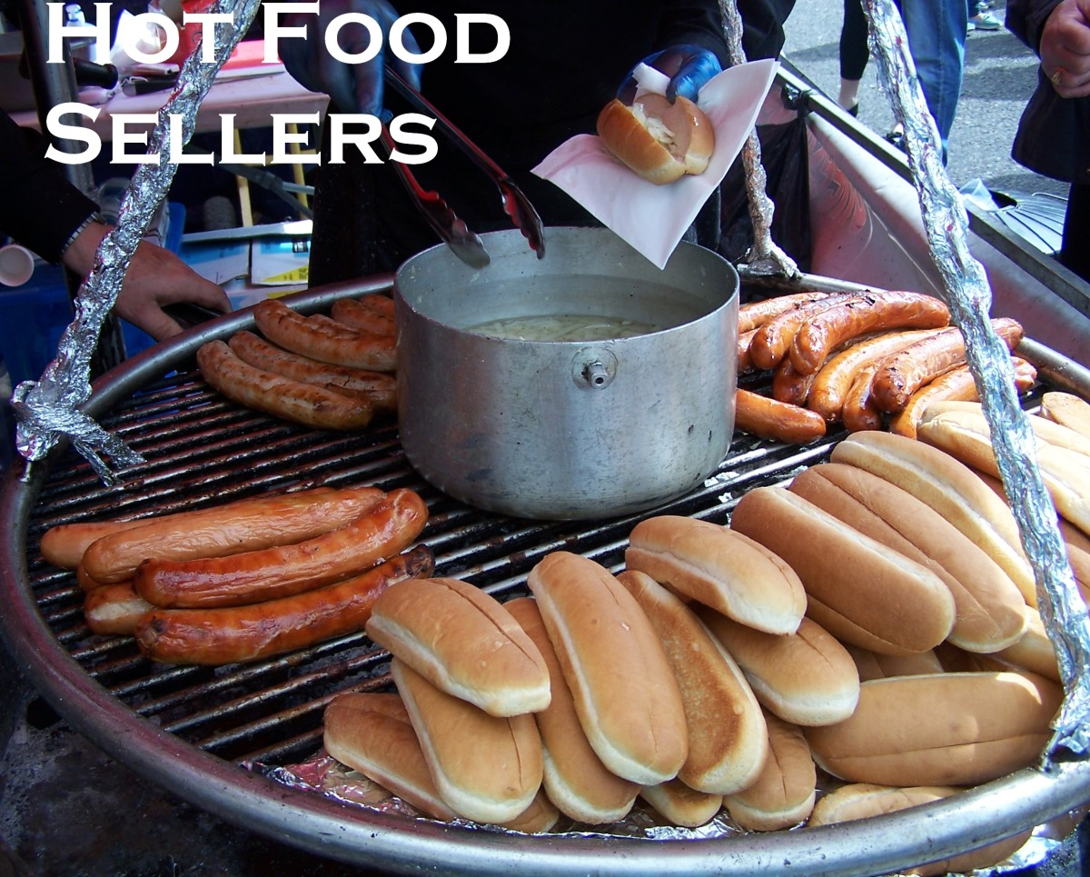 Best Selling Products for Market Stalls: Selling Hot Food.  Bratwursts and Burgers.