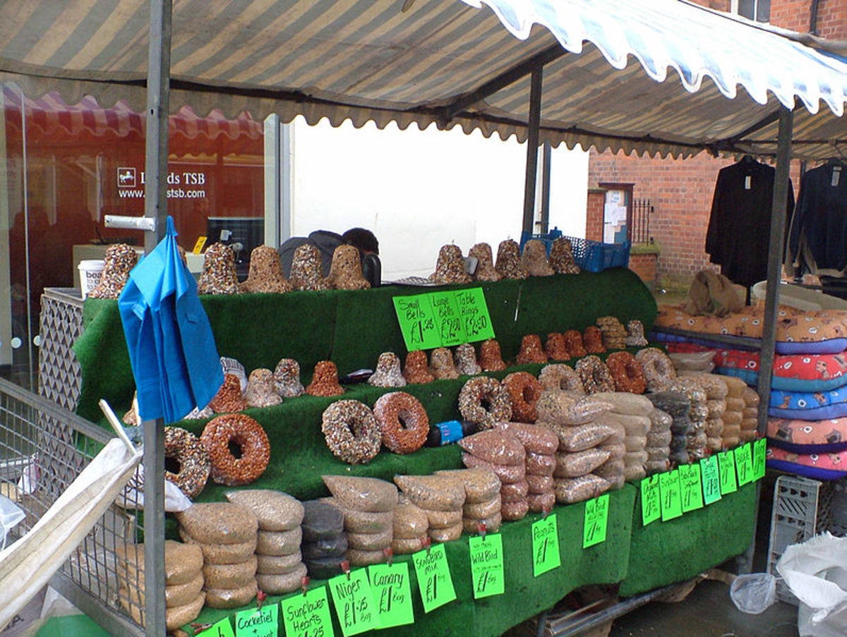 Best Selling Products for Market Stalls: Bird seed and pet foods.