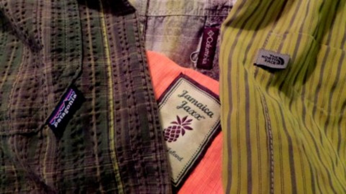 Shirts from second hand stores.  Patagonia, Columbia, The North Face, Jamaica Jaxx