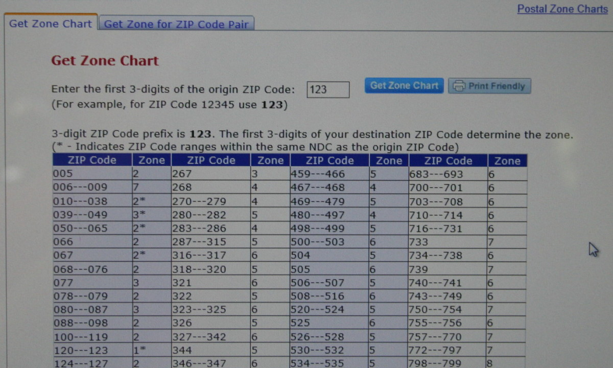 This database finds zones by zip codes.  The postal zone chart can be found at the postal service website.