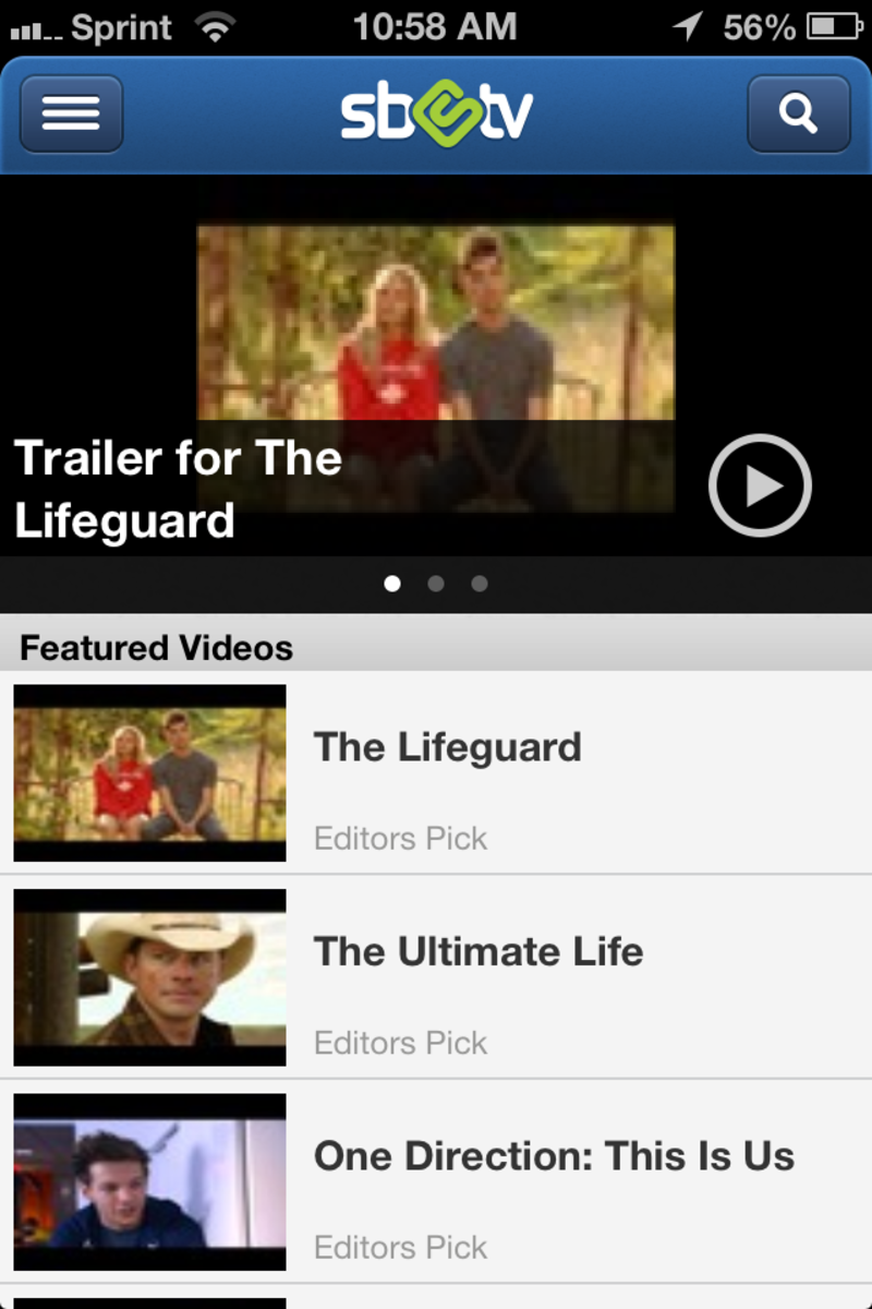The movie trailers section in the Swagbucks TV Mobile app for iOS