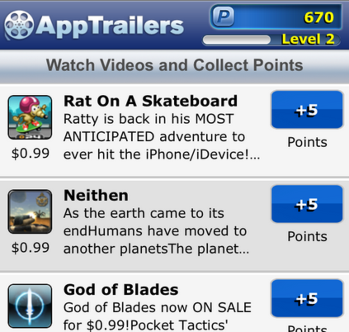 Screenshot of AppTrailers