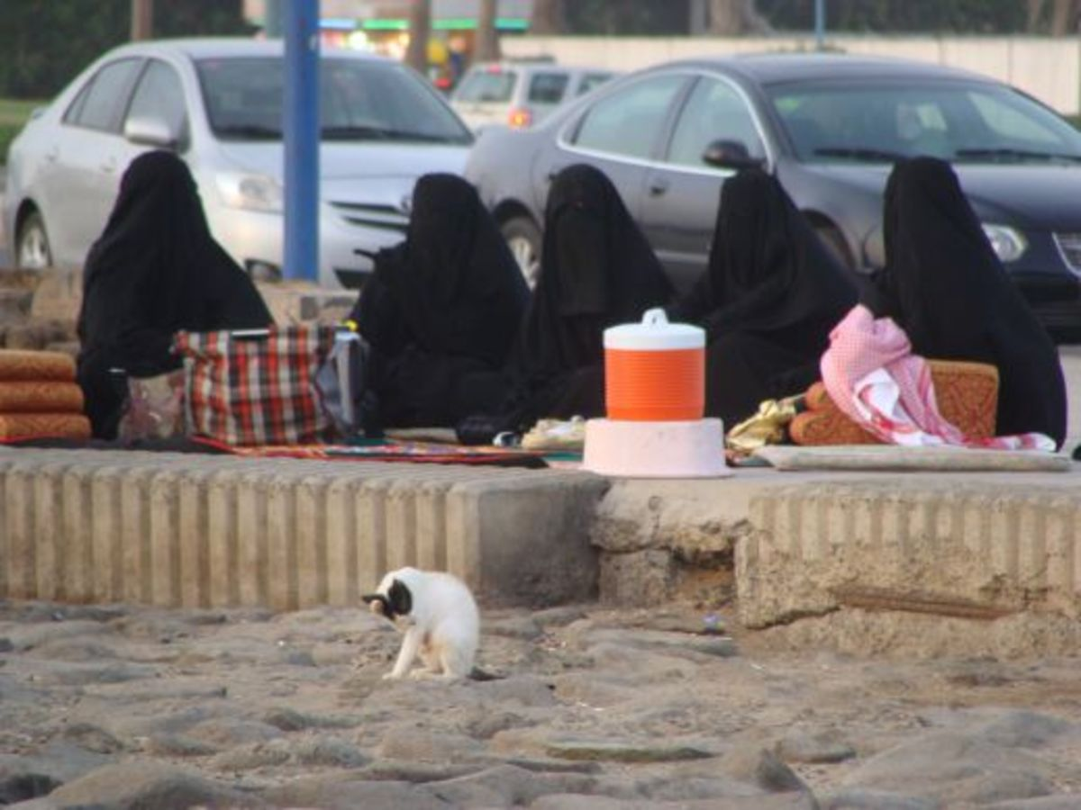 Saudi Women Sun Bathing by the Red Sea