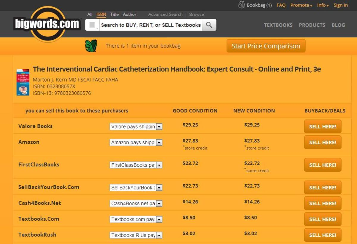 Bigwords Search for Best Price to Sell Textbooks Online
