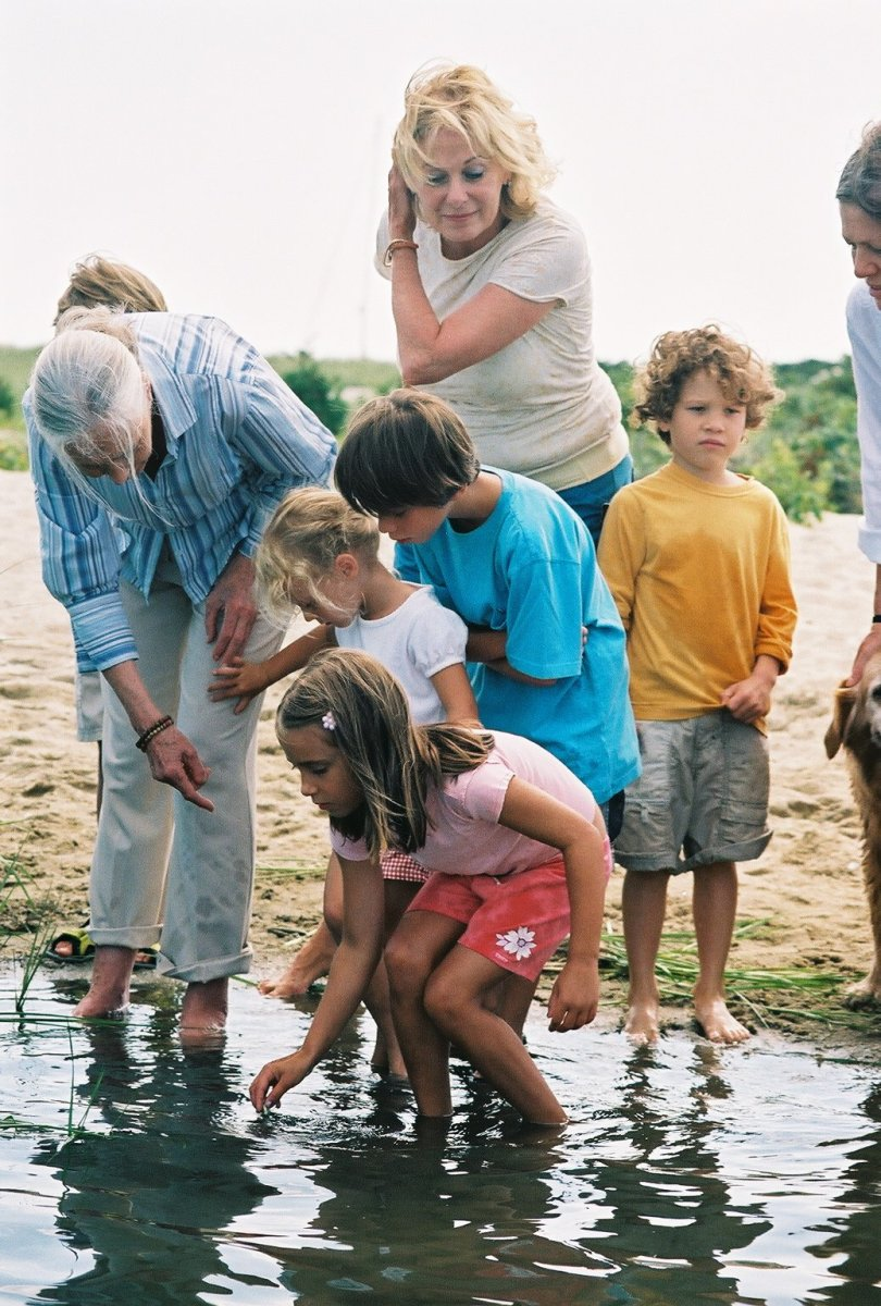 Jane Goodall (left) with children on Martha's Vineyard in 2006