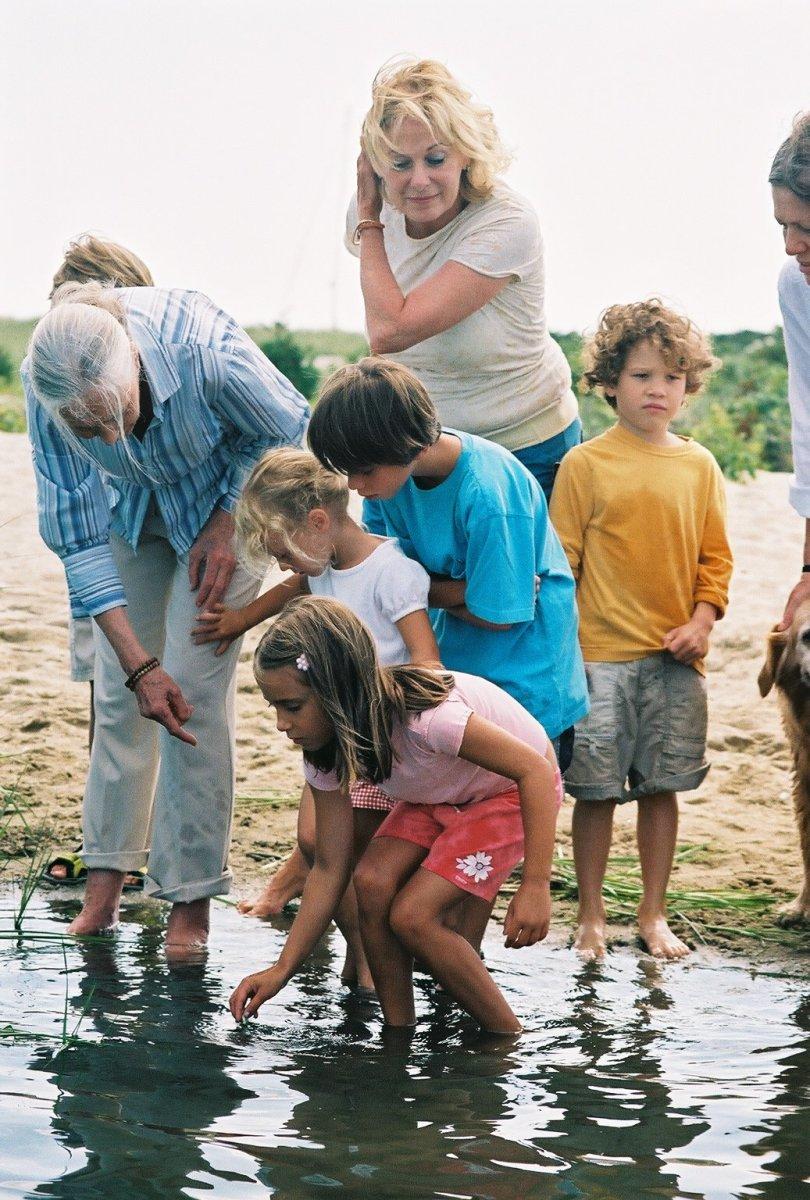 Jane Goodall (left) with children on Martha's Vineyard in 2006