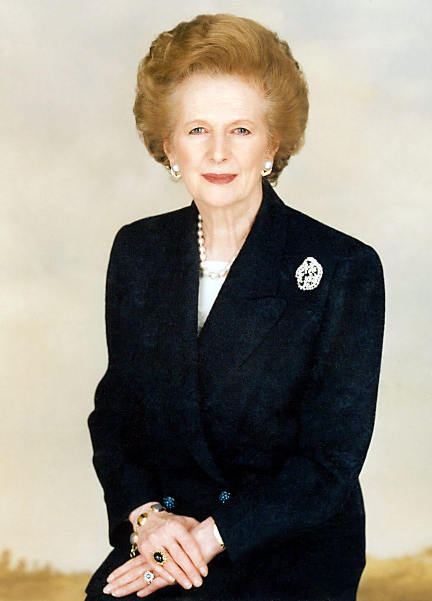 Dame Margaret Thatcher in a formal portrait