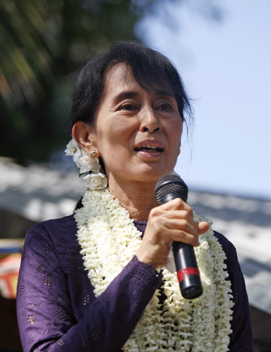 Aung San Suu Kyi speaks to supporters in Yangon, Myanmar, on 17 November 2011