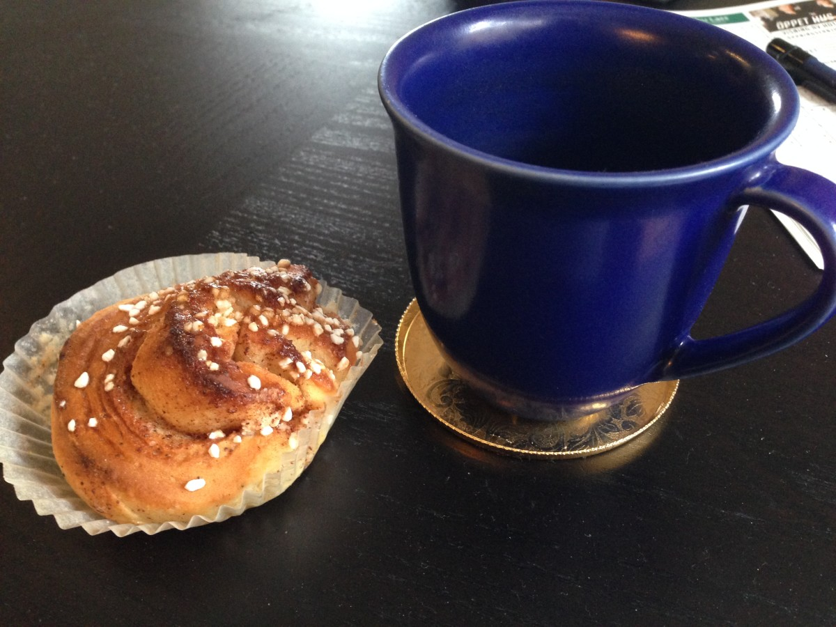 A Swedish kanelbulle, a cinnamon roll, homemade!