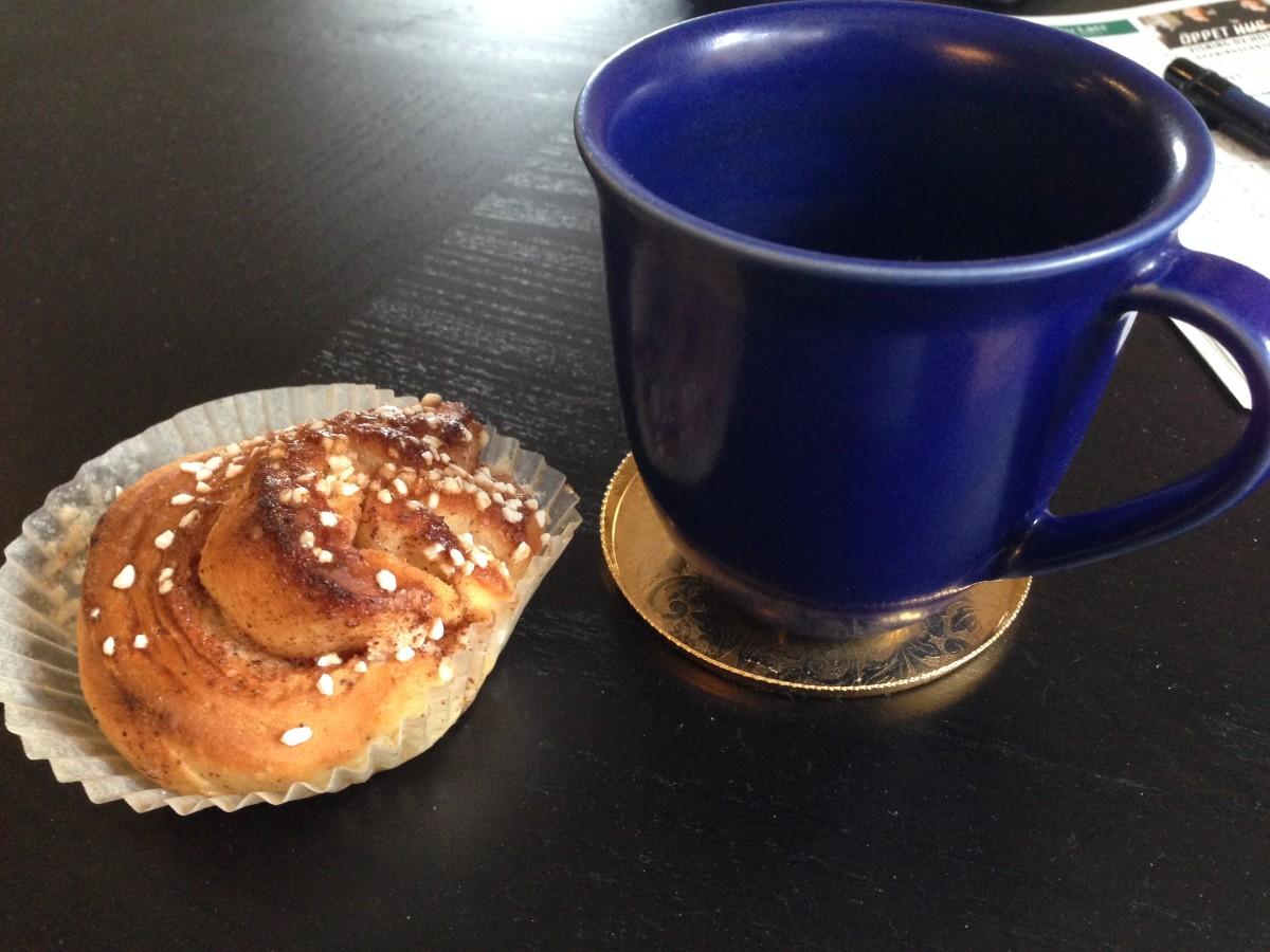 A Swedish kanelbulle, a cinnamon roll, homemade!
