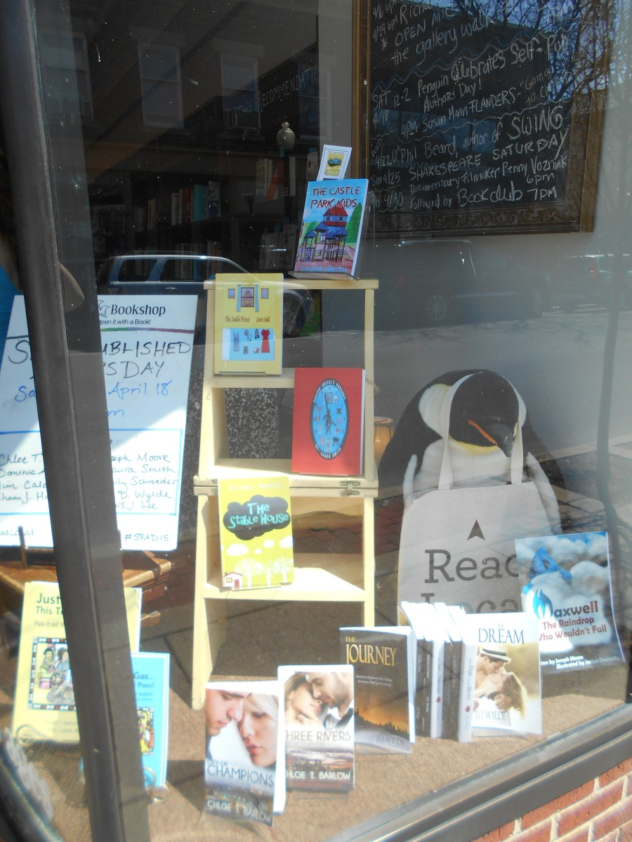 My books in a bookstore window.
