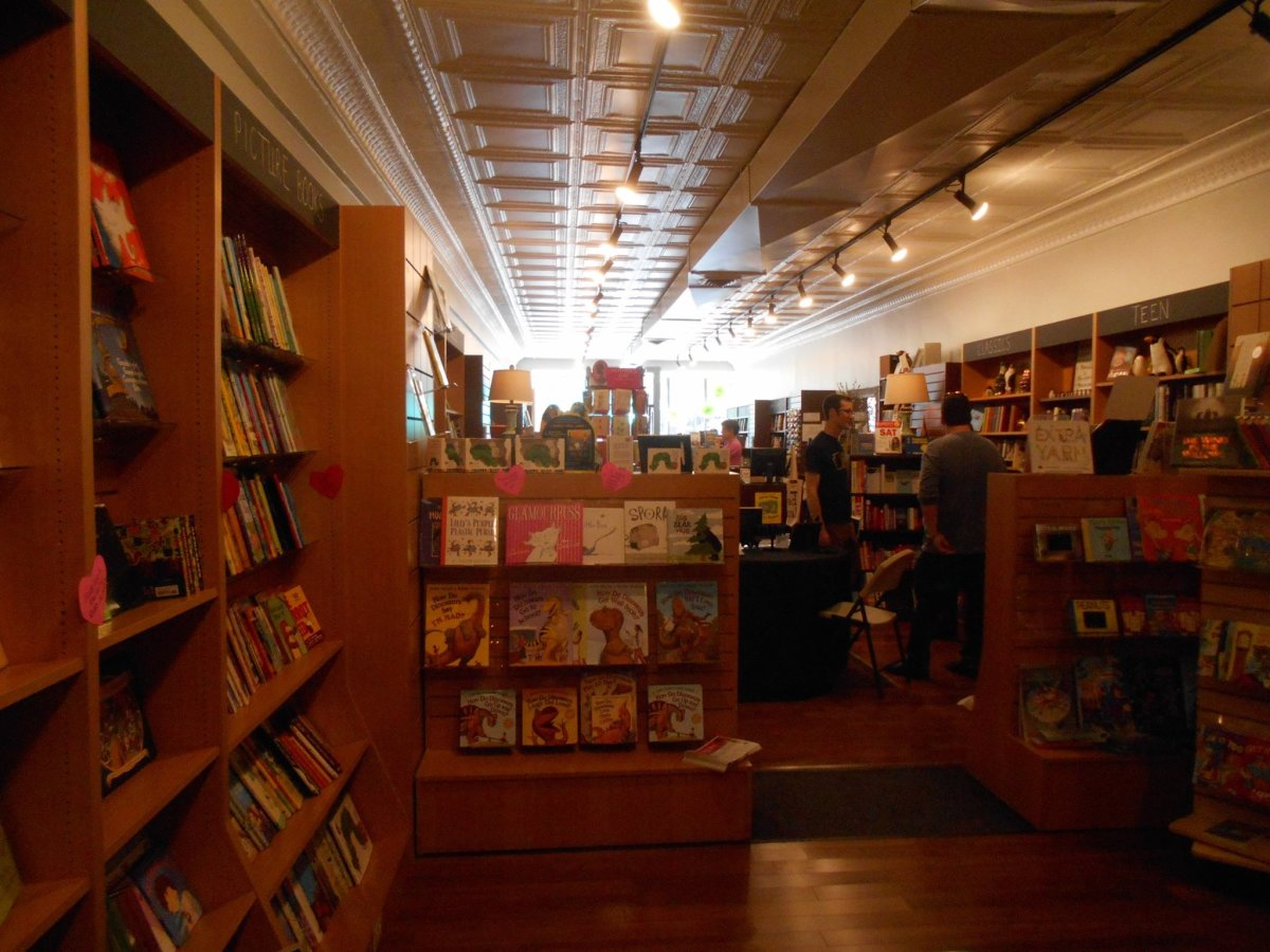 The inside of a small, independent bookstore.