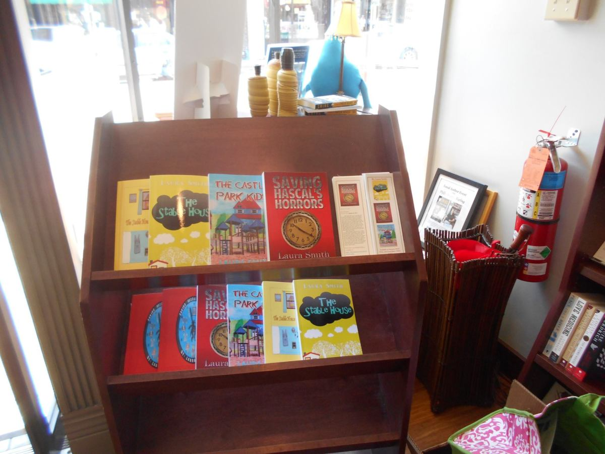 A display of my books on a shelf at an indie author event.
