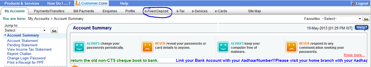Click on e-Fixed Deposit to create your online Fixed Deposit