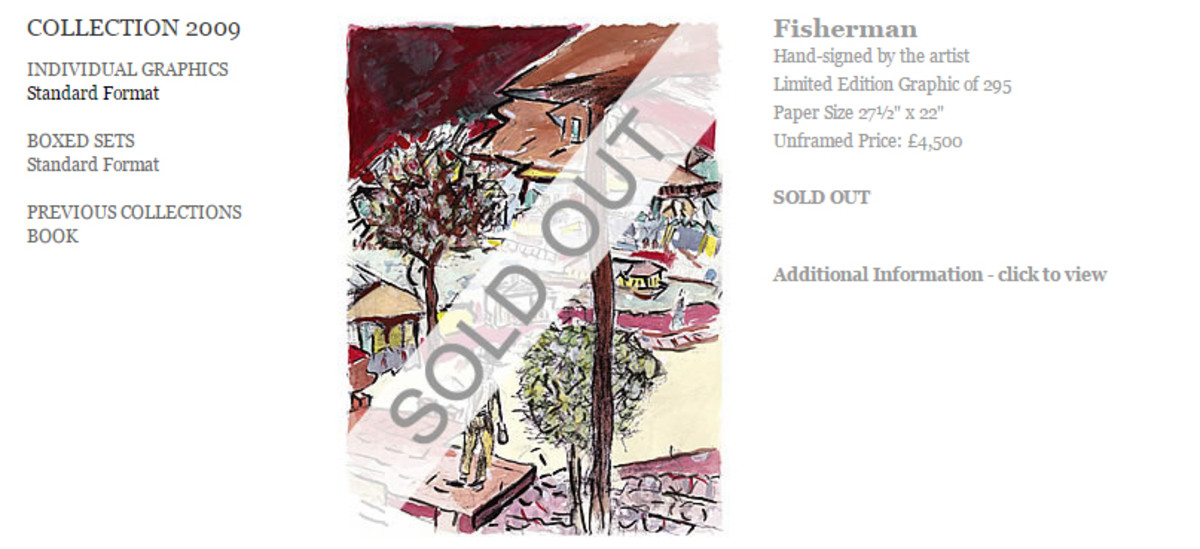 Fisherman from 2009 is listed on the official Dylan Art site for £4,500 but it is sold out