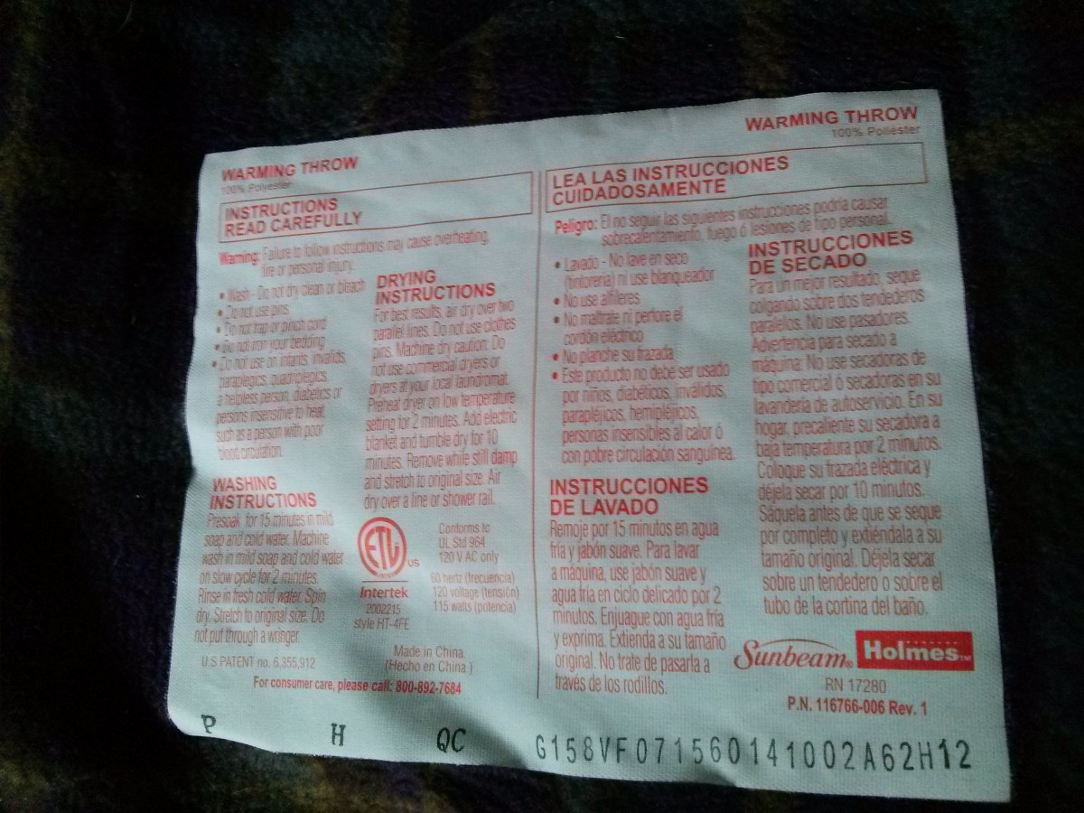 Electric blankets and mattress pads will include a label from the manufacturer with washing and drying instructions.