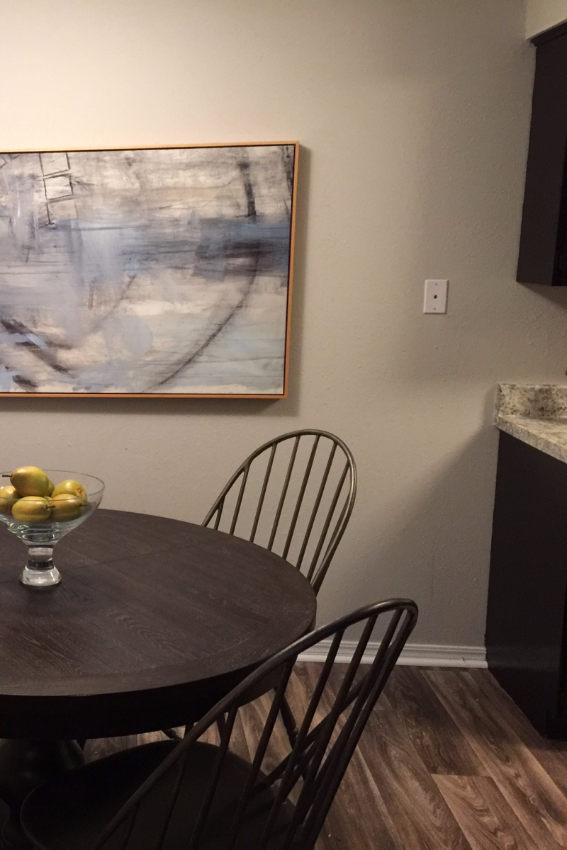 An example of the dining room in a model apartment.