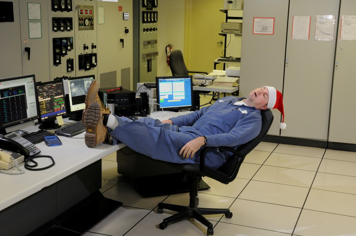 While the rest of us celebrate the holidays, Bob's back at the power plant control room ensuring that everything is up and running as it should be. Z-z-z-z-z.