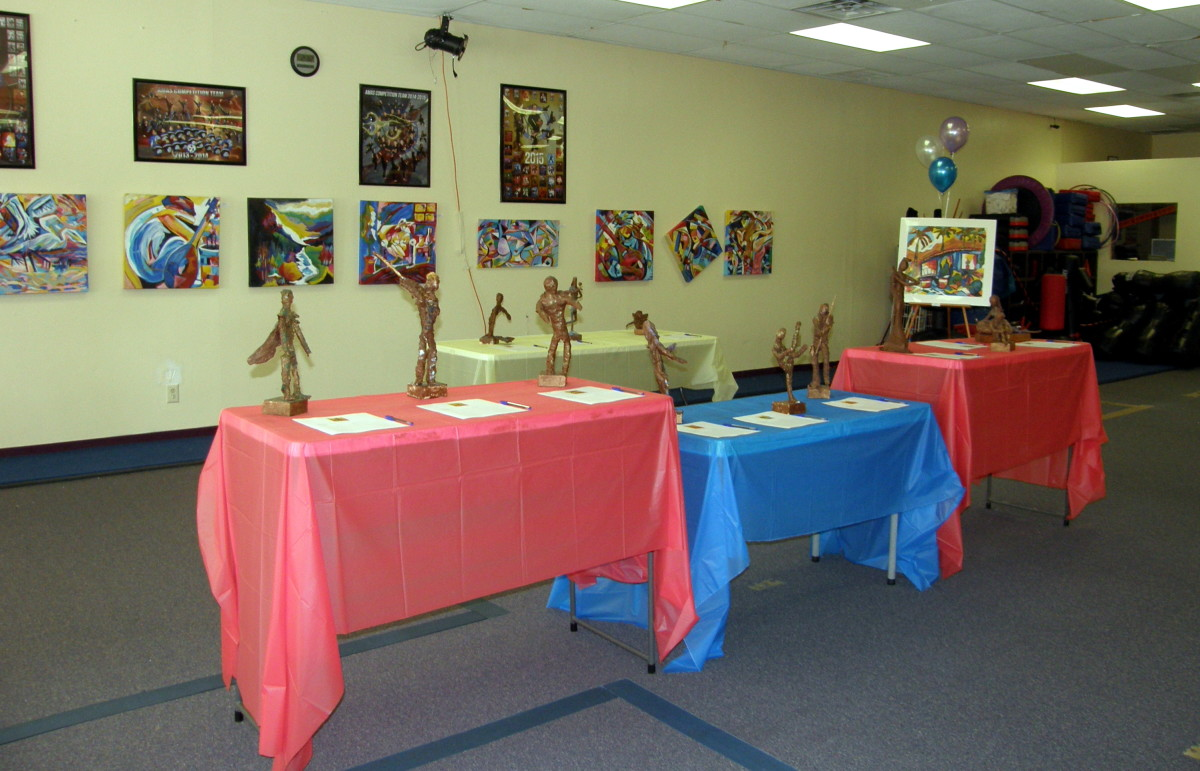 Art hung and displayed for the event.