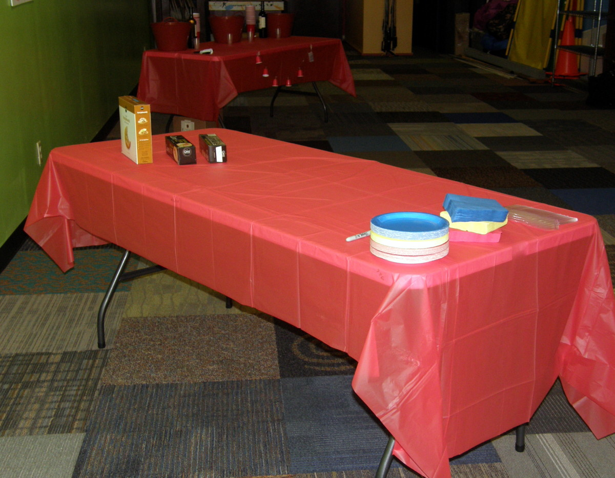 Tables being set up for food