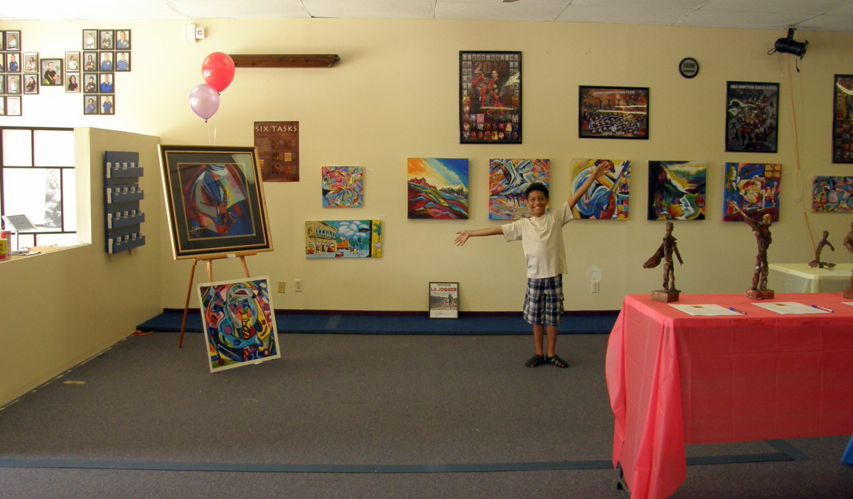 Everyone was involved in setting up the exhibit, including my youngest son, Nicholas.