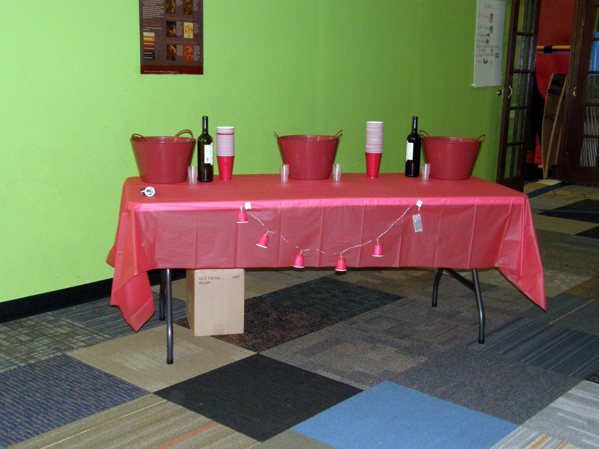 Table set up for drinks