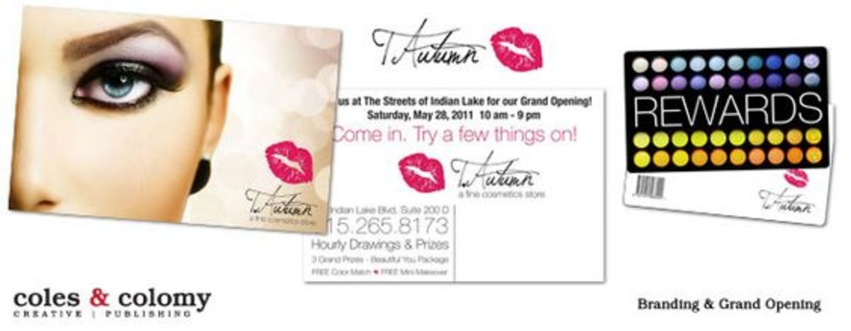 Post Card and Rewards Card designs for a cosmetic store.