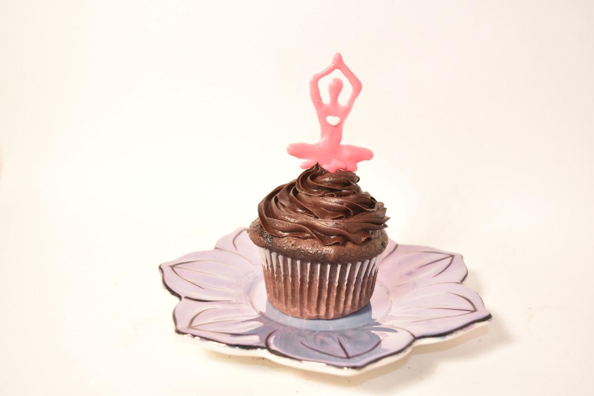 A yoga pose cupcake