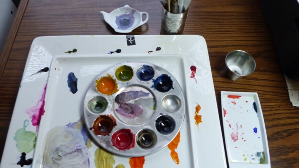 Can-holder for brushes, plate paint palette and tea bag paint mixing palette works fine