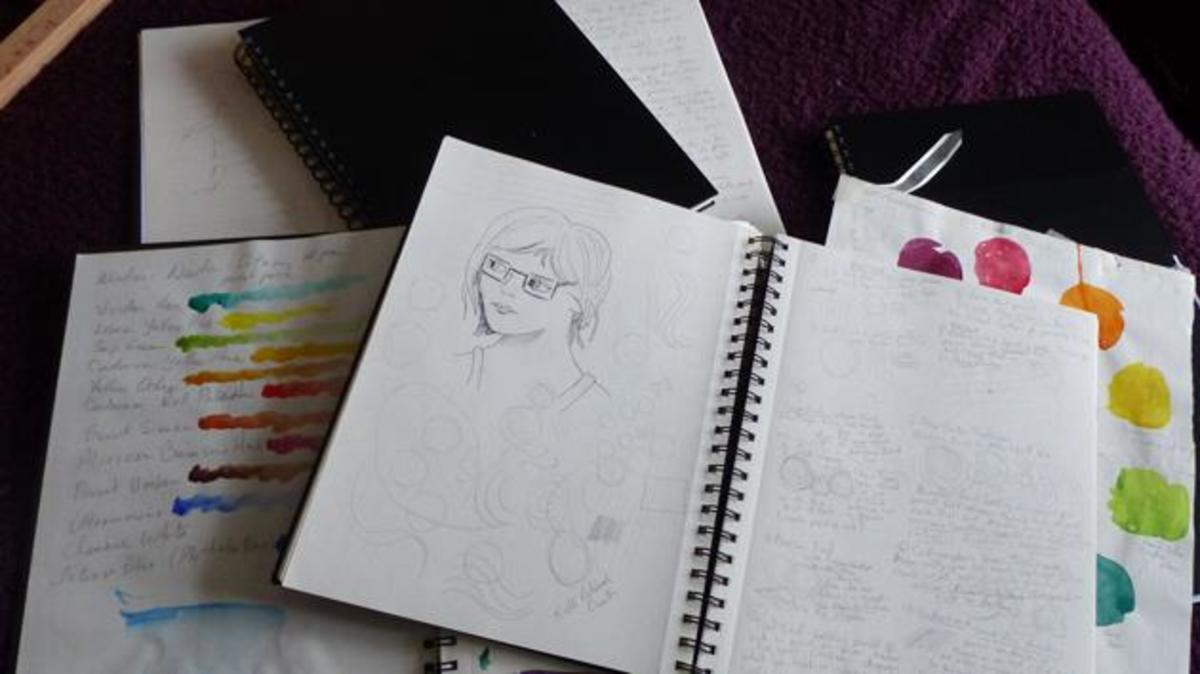 I can let my inner artist and writer loose with cheap sketchbooks!