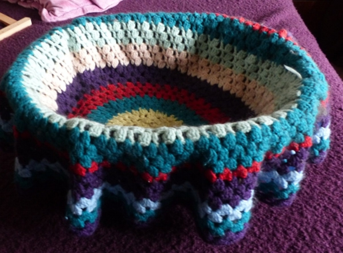 Never thought I would use these round afghans until the idea hit me...great cat basket blanket!