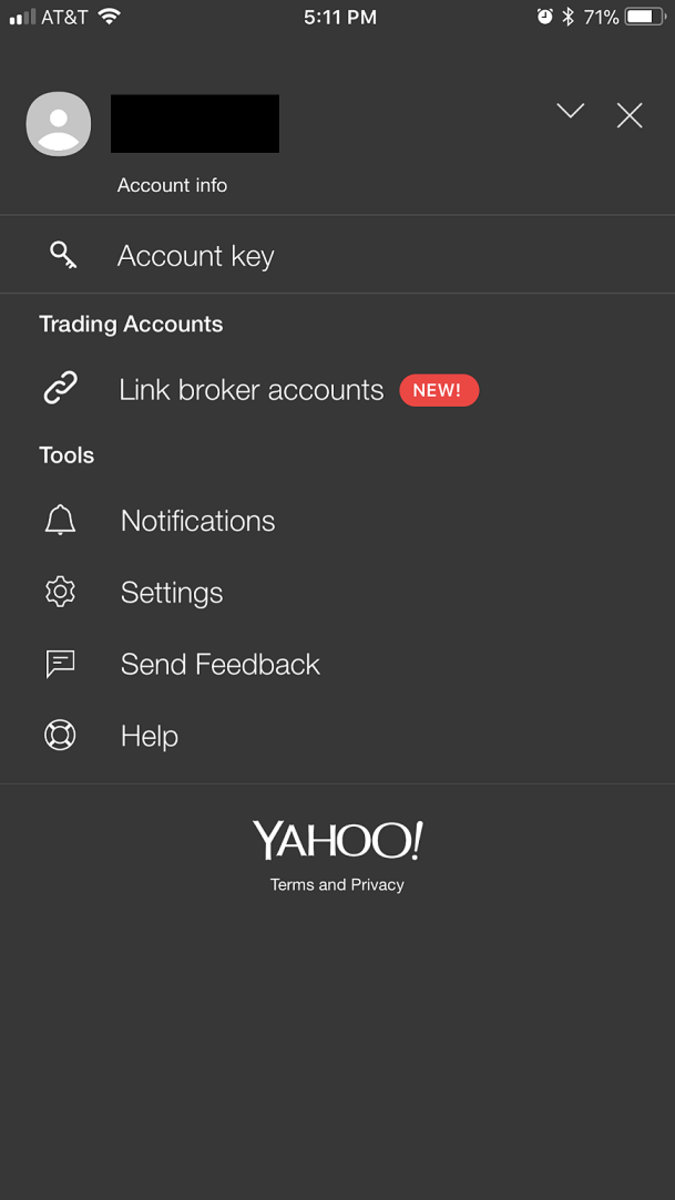 "Select ""Link Broker Accounts"" in the Trading Accounts section in the menu screen."