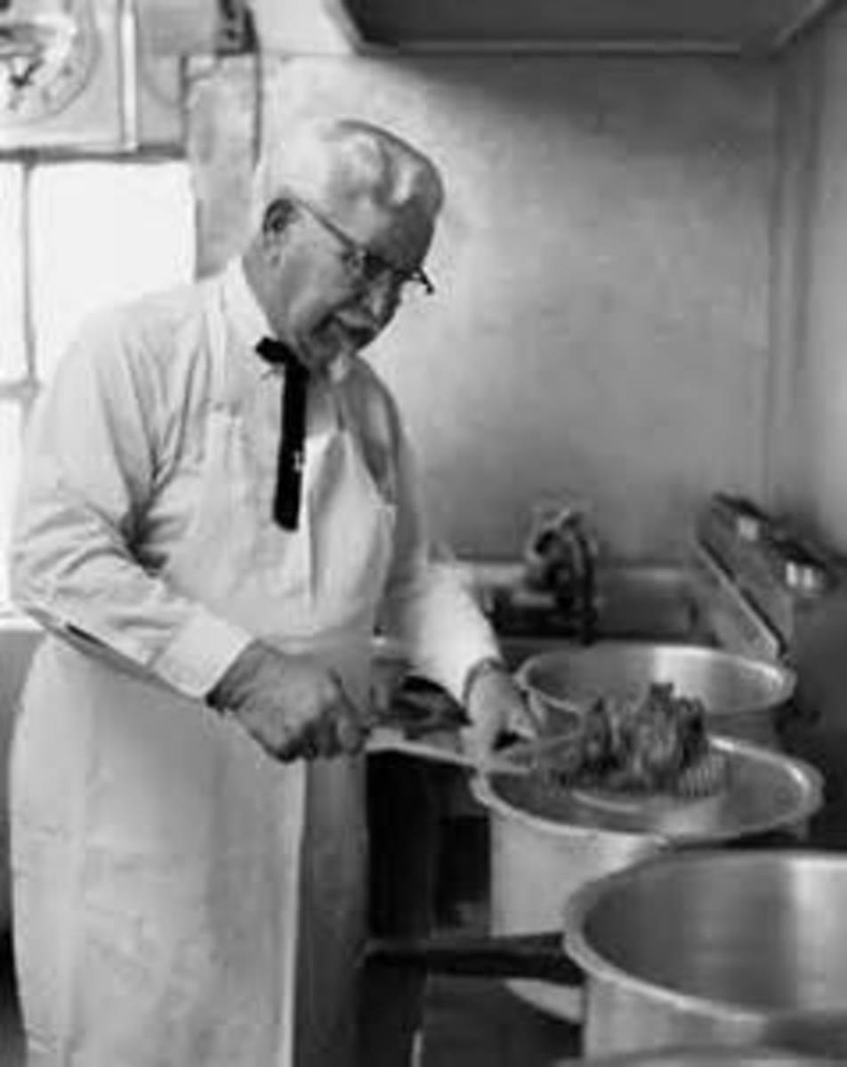 Colonel Sanders making chicken