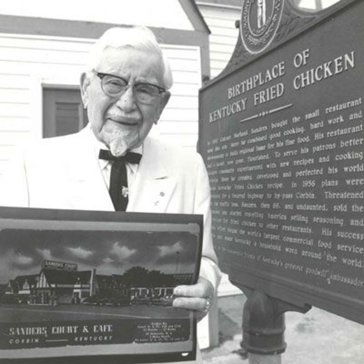 Colonel Sanders at place where Kentucky Fried Chicken started
