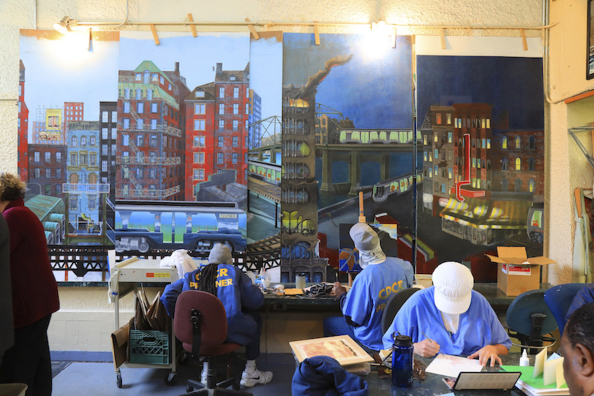 a library with a mural (probably designed by resident artists)
