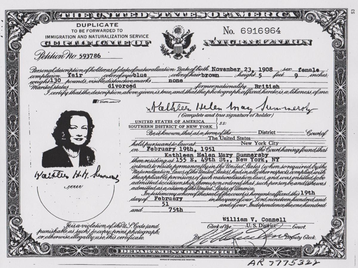 This is an old sample of a Certificate of Naturalization. They are colorized now including the photo embedded on the certificate. If you haven't already, go to SSA to update your citizenship, it will save you a lifetime of headaches.
