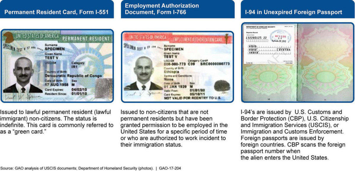 These are samples of a Permanent Resident Card (Green Card), Employment Authorization Card (Red Card, and an I-94. In case you are in a situation described in the previous paragraphs, bring in these DHS documents to update your legal status.