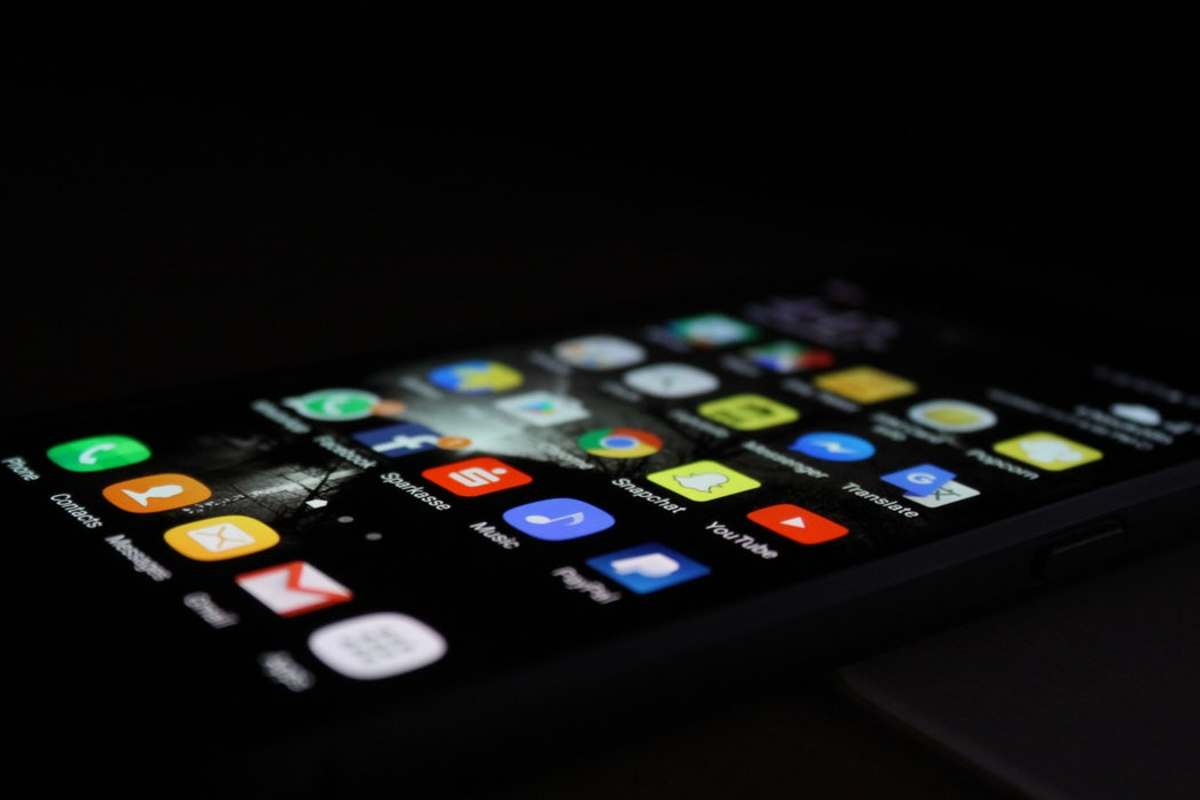 A phone showing various apps.