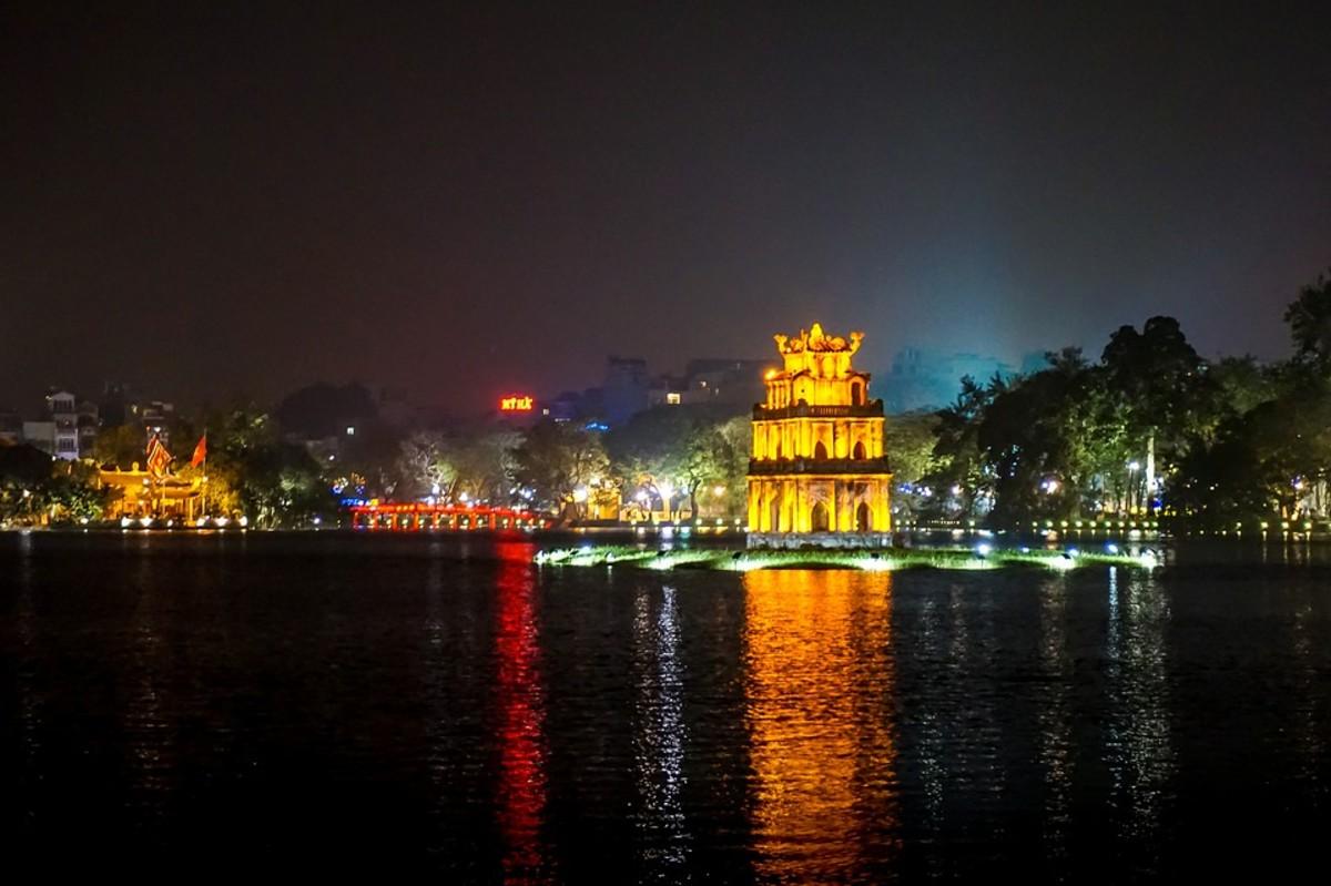 Turtle Tower in Sword Lake (Hồ Gươm), Hanoi.