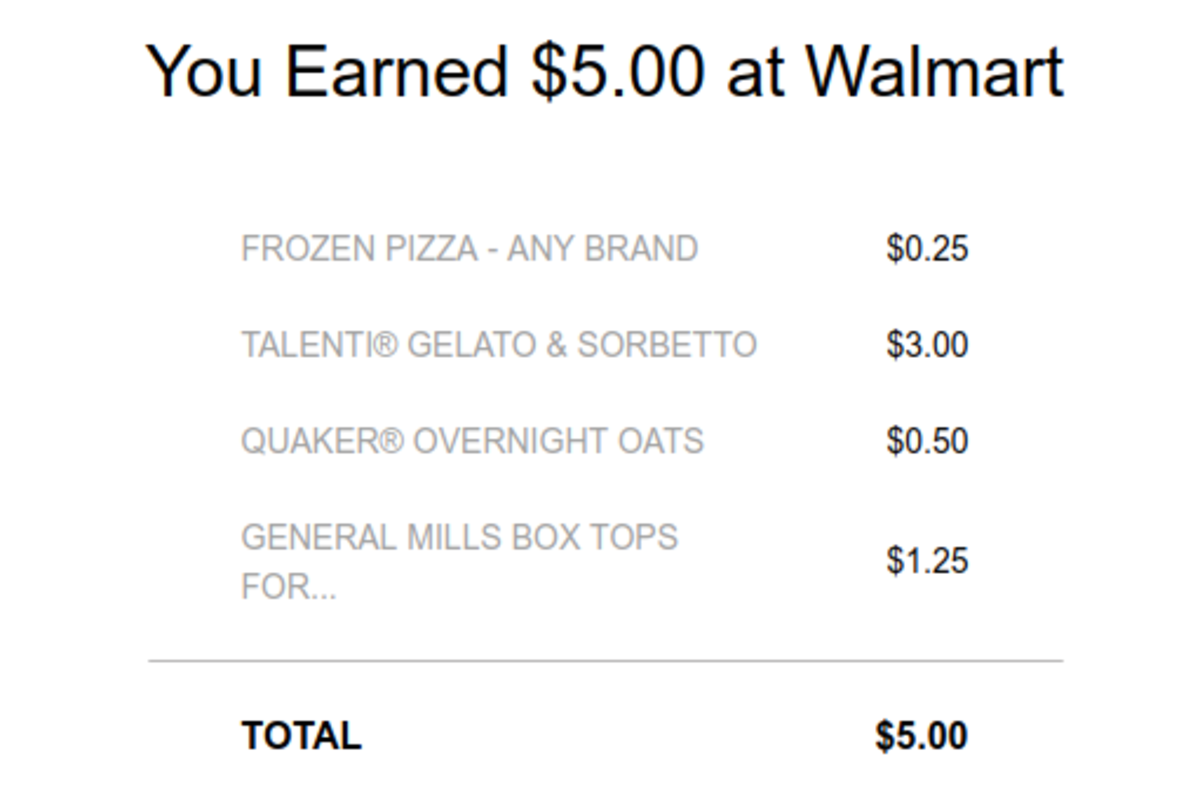 Example of Ibotta earnings for a Walmart trip.