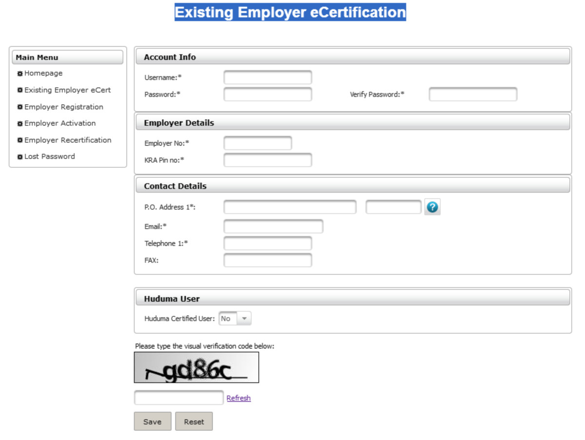 Existing Employer eCertification Form