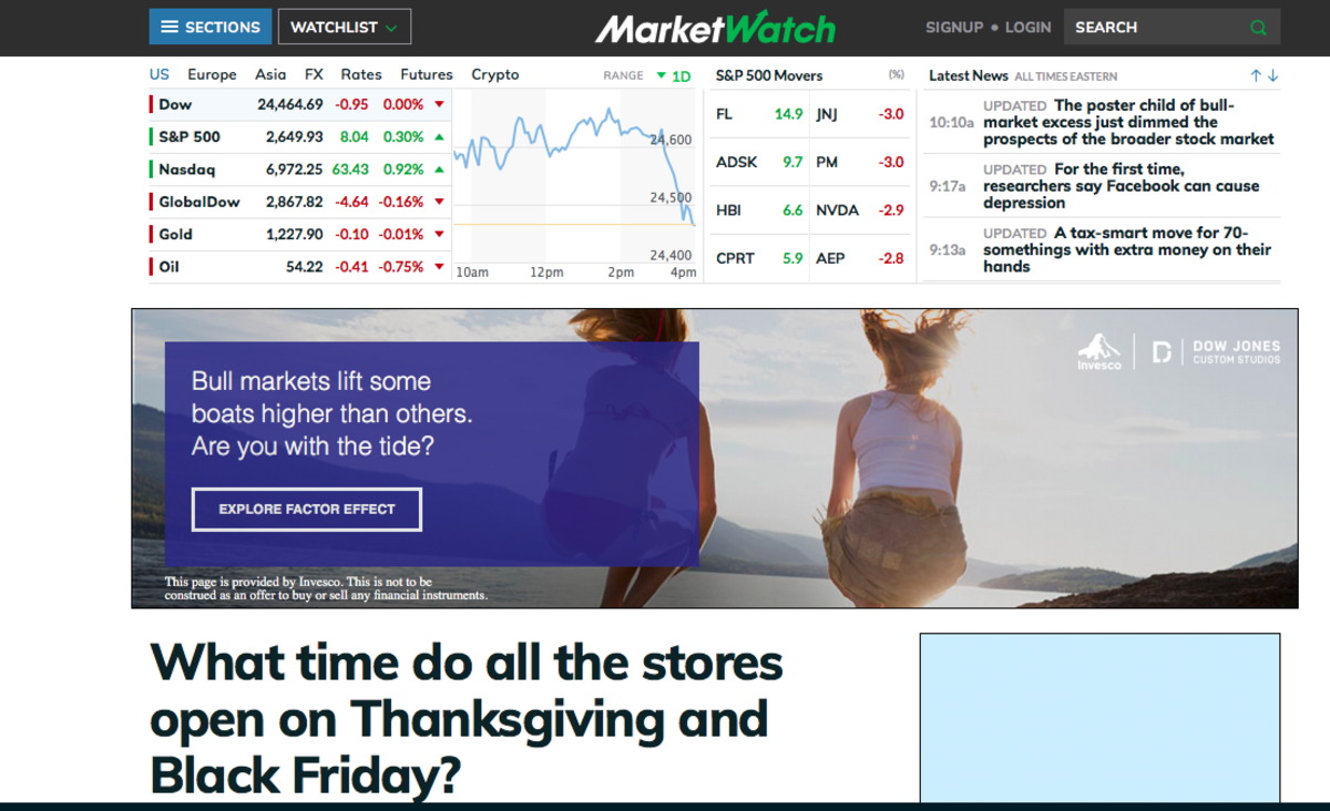 The Marketwatch main screen
