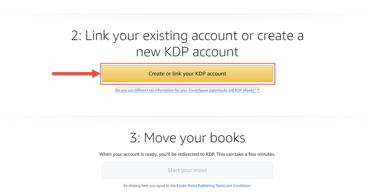 Link your existing account or create a new KDP account