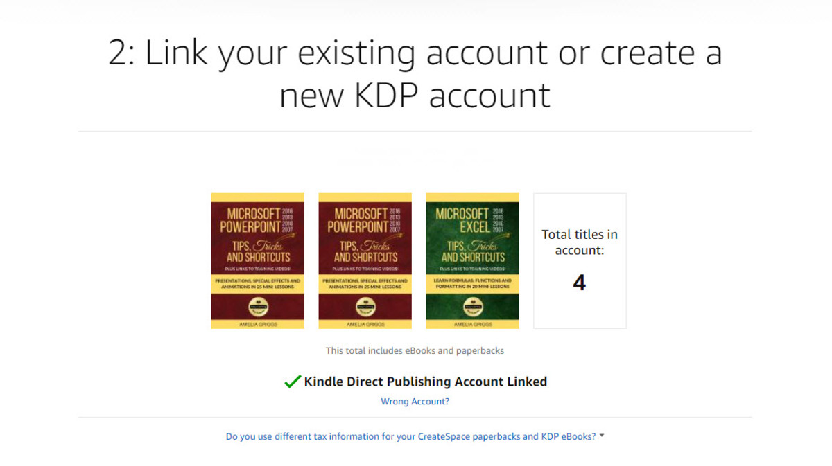 Kindle Direct Publishing account linked
