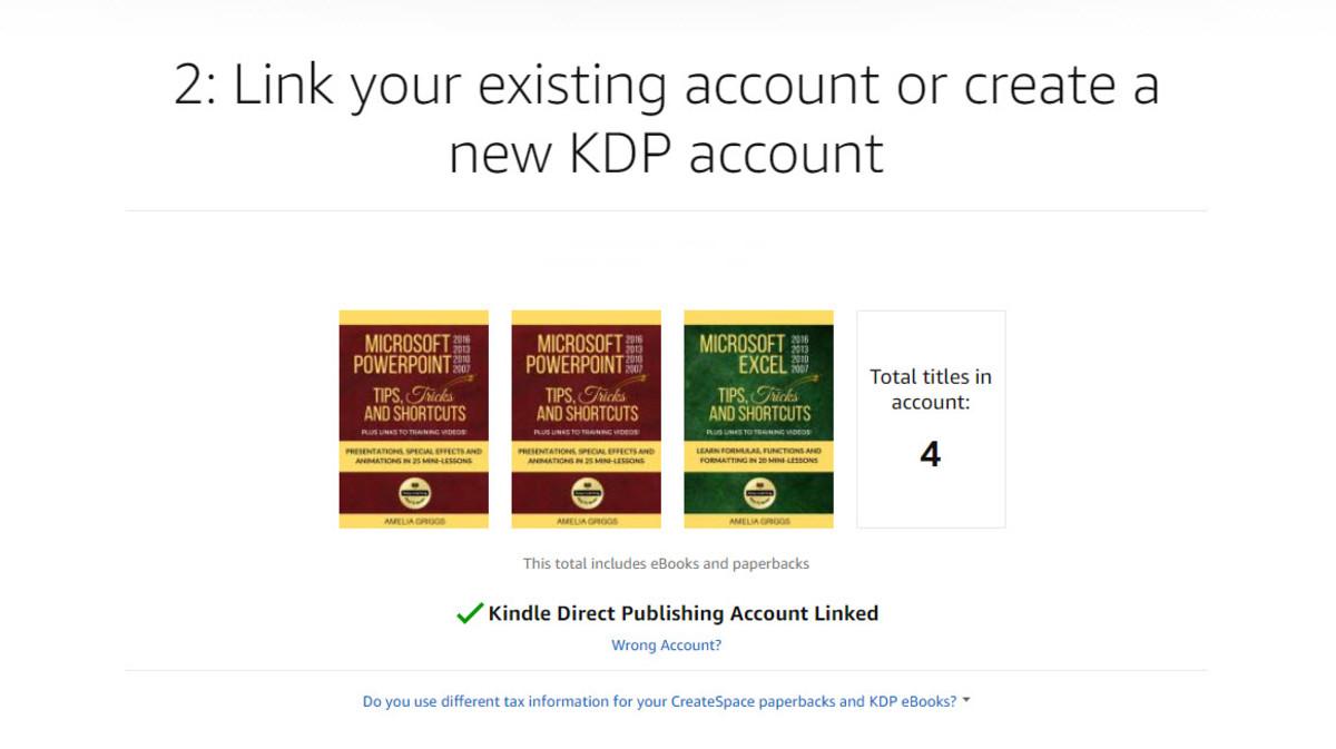 Kindle Direct Publishing account linked