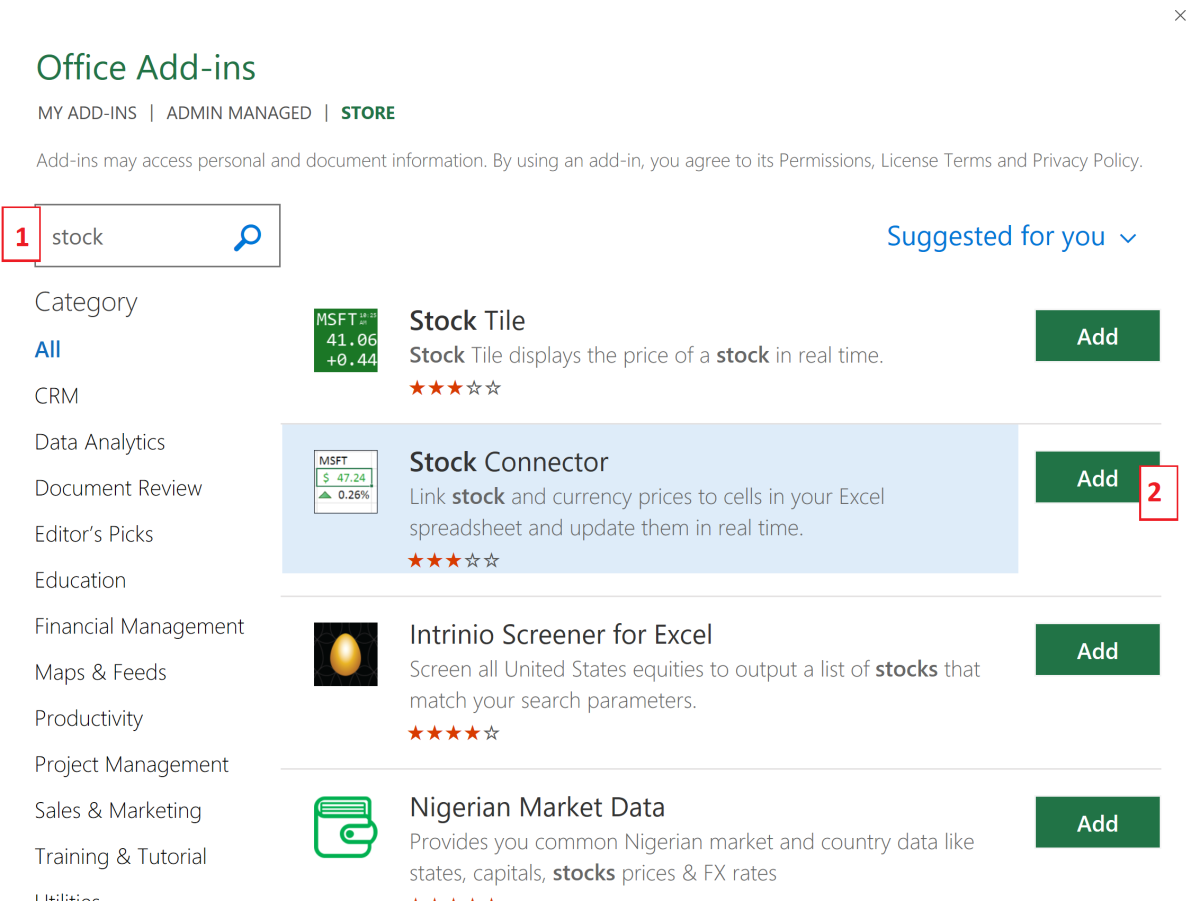 You are not limited to the Stock Contributor add-in. You can test which ever add-ins work best for you.