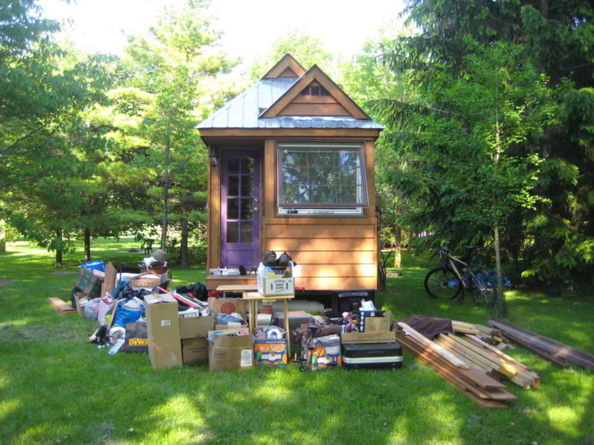Chip and Joanna Gibson's house ended up having a lot of boxes and things outside during construction. They ended up moving out of their tiny house when Joanna became pregnant and they realized there would be no room for their new baby.