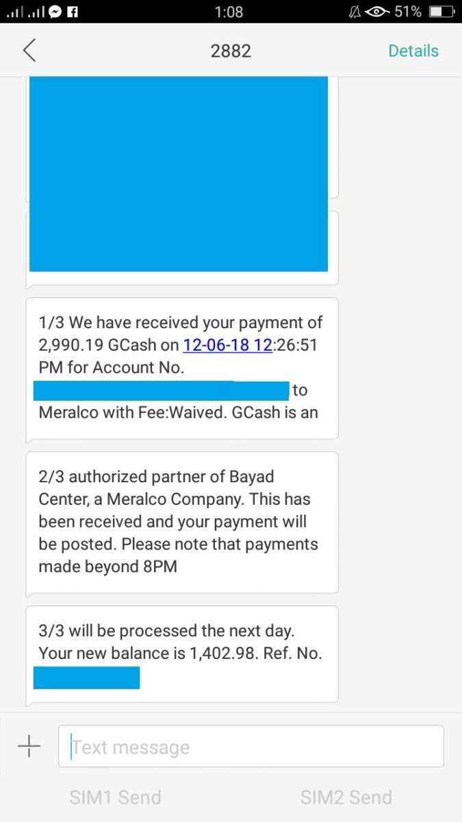 You may also receive an SMS text message like this confirming your payment.