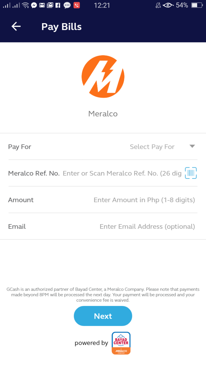 Step 5: Enter your Meralco Reference Number, the total amount of your payment, and your email address (optional).